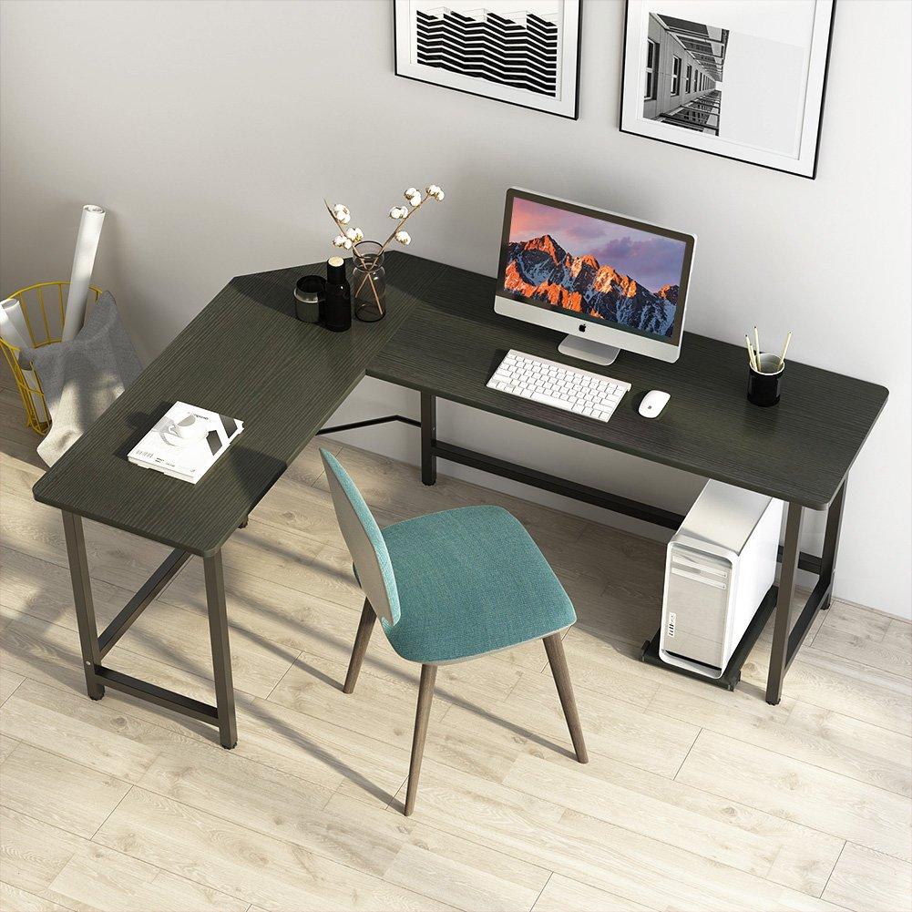 L-Shaped Desk Corner Computer Gaming Laptop Table Workstation Home Office BK LY
